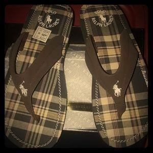 Ralph Lauren Brown Plaid Flip Flops